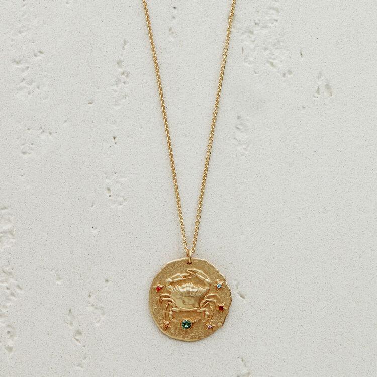 Collar de signo del Zodíaco Cáncer : Medallones color OR