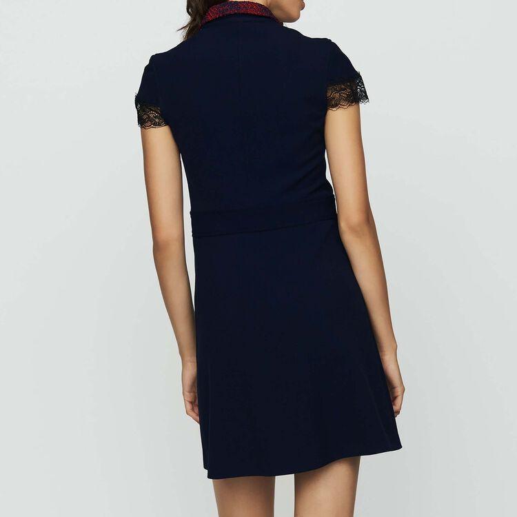 Vestido-camisero de crepé y encaje : Vestidos color Azul Marino