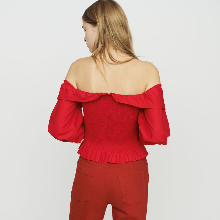 Smocked top with bare shoulders : Tops color Rojo