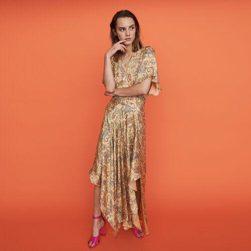 Vestido pañuelo fruncido y estampado : Vestidos color Beige