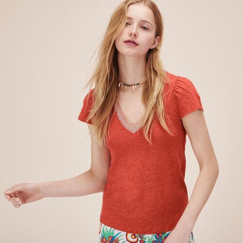 Camiseta de lino con mangas fruncidas - Tops y camisas - MAJE