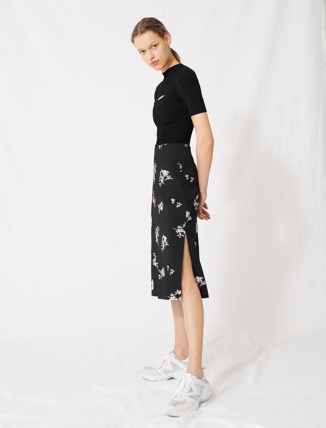 Falda midi de crepé bordada - Toda la colección - MAJE