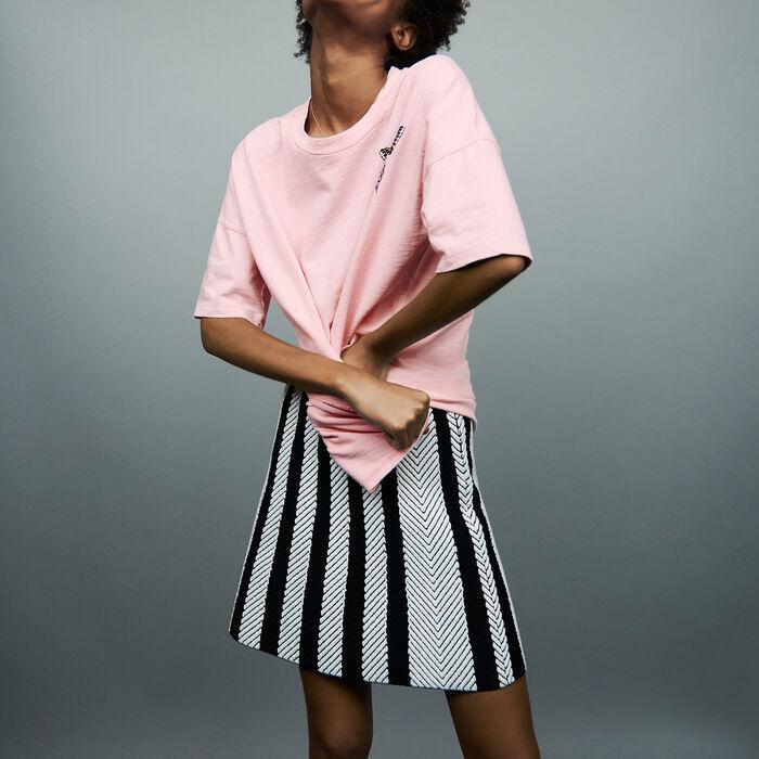 Camisata oversize con bordado : T-Shirts color Rosa