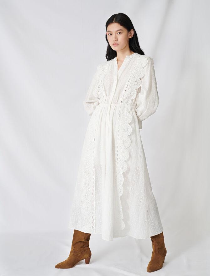 Vestido de algodón con bordados ingleses - Vestidos - MAJE
