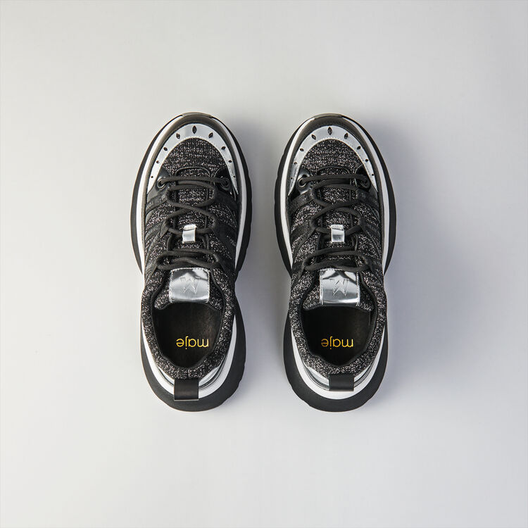 Sneakers W20 urbanos de cuero y Lurex : Sneakers color Negro  Lúrex Plateado