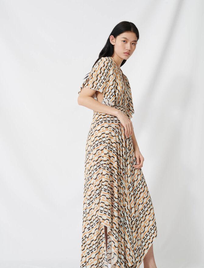 Vestido pañuelo estampado cintura smock - Vestidos - MAJE