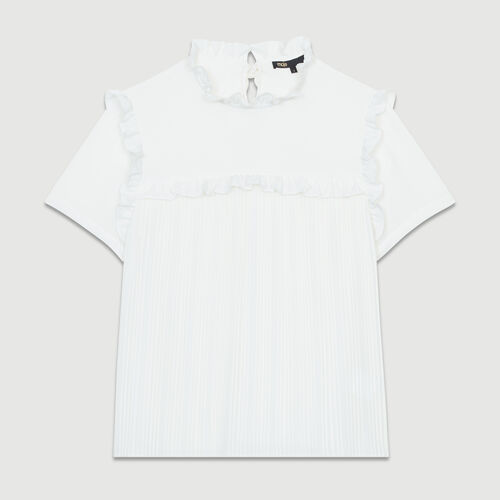 Blusa plisada a volantes : Tops color Blanco
