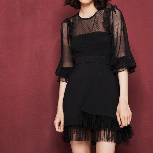 Falda asimétrica con volante : Faldas y shorts color Negro