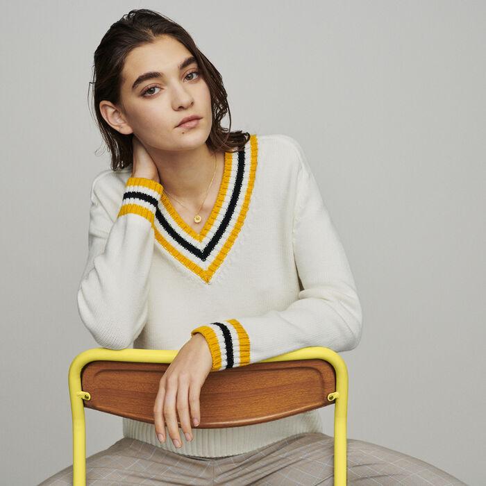 Jersey cuello en pico con bandas : Jerseys y cárdigans color ECRU