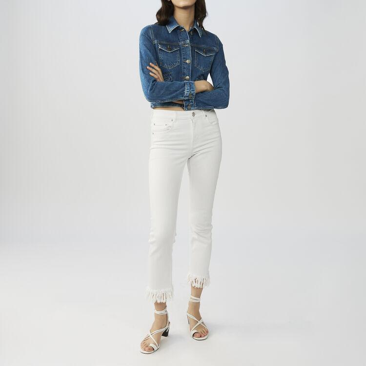 Vaquero recto y dobladillo con flecos : Jeans color Blanco