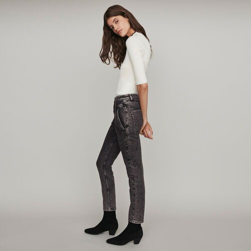 Jean desteñido tiro alto : Pantalones y Jeans color Antracita