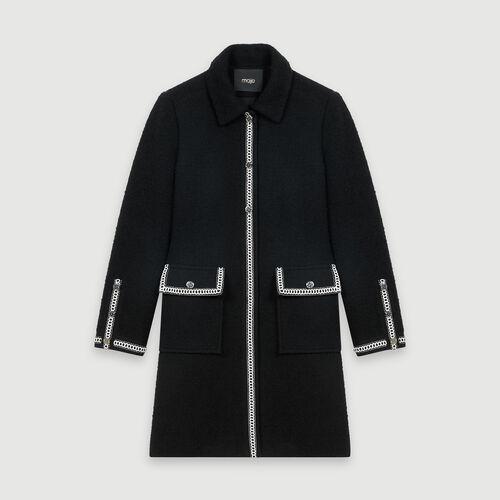 Abrigo tipo tweed a contraste : Abrigos y Cazadoras color Negro