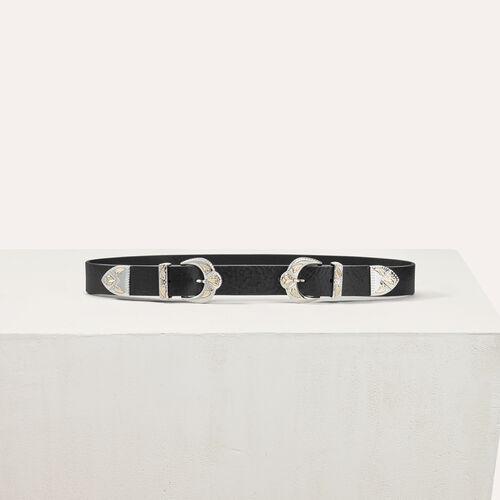 Cinturón piel doble hebilla festoneada : Cinturones color Negro