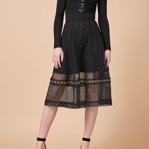 Falda larga de punto bordado : Faldas y shorts color Negro