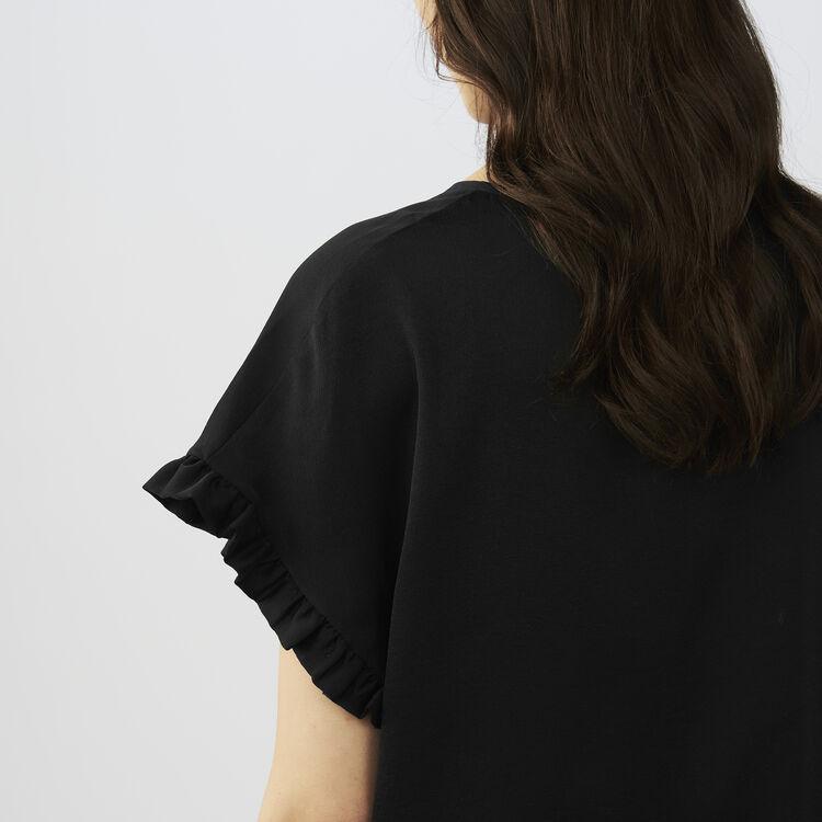 Top loose con volantes : T-Shirts color Negro