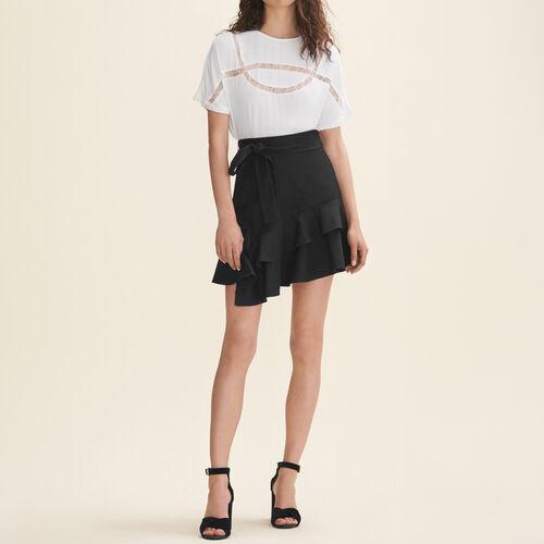 Camiseta vaporosa con encaje : T-Shirts color Blanco