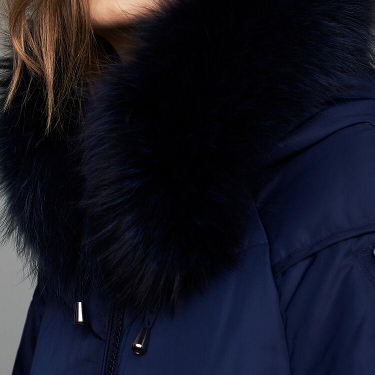 Abrigo largo con pelo : Abrigos color Azul Marino