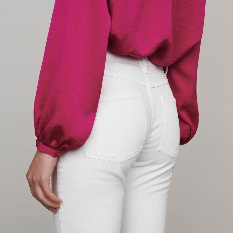 Vaquero recto con bolsillos y cortes : Colección invierno color Blanco