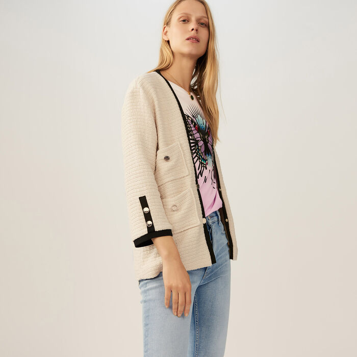 Chaqueta loose en tweed : Chaquetas color Crudo