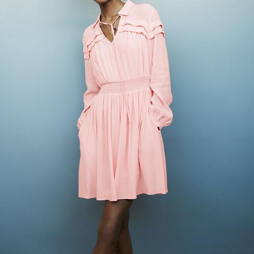 Vestido corto de crepé con volantes : staff private sale color LILA