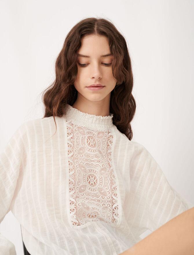 Blusa de algodón, lúrex y encaje - Tops y Camisas - MAJE