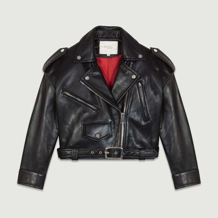 Cazadora corta de cuero : -50% y más color Negro