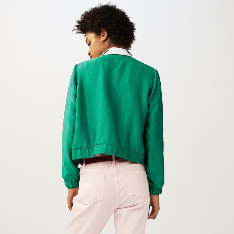 Chaqueta corta con cuello bisutería : Cazadoras color Verde