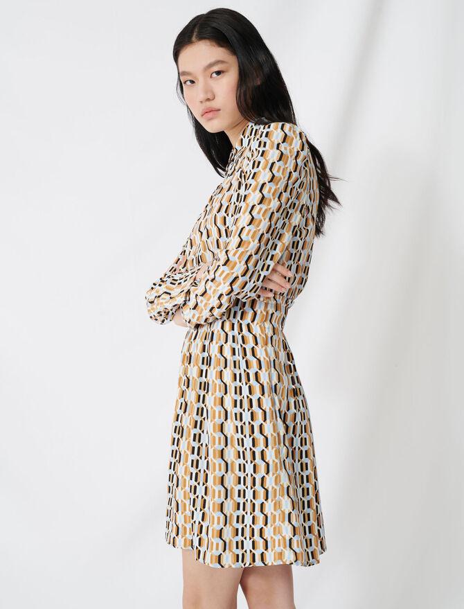 Vestido smock estampado en crepé - Vestidos - MAJE