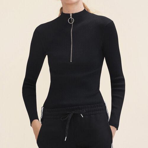 Jersey fino punto stretch con cremallera : Jerseys y cárdigans color Negro