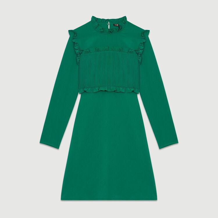 Vestido recto con plastrón plisado : Prêt-à-porter color Verde
