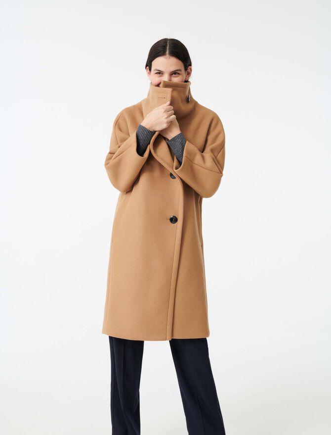 Abrigo largo con cuello grande de lana - Abrigos y Cazadoras - MAJE