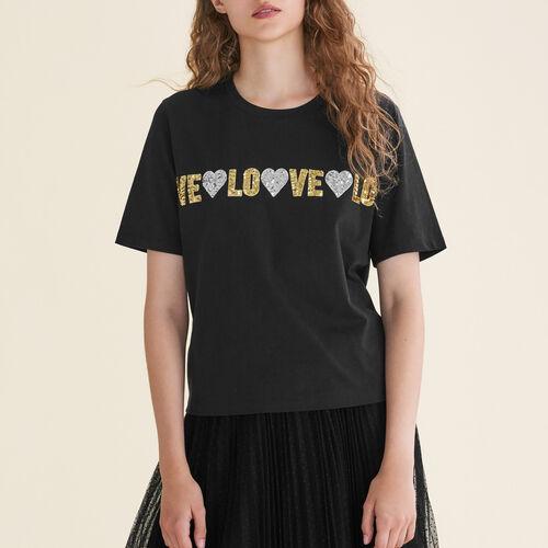 Camiseta de algodón con lentejuelas : T-shirts color Negro