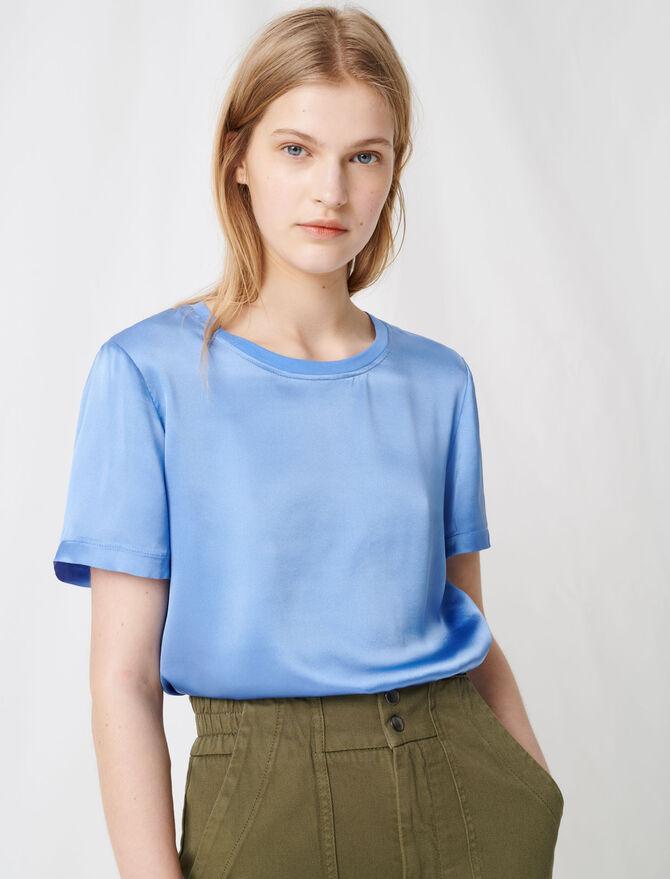 Camiseta combinada de algodón y seda - T-Shirts - MAJE