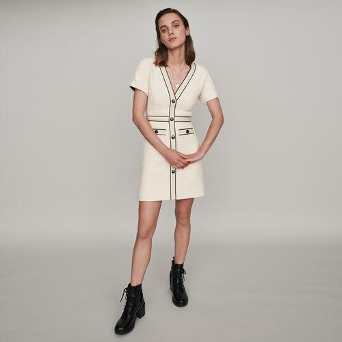Vestido tipo tweed a contraste : Colección invierno color Crudo