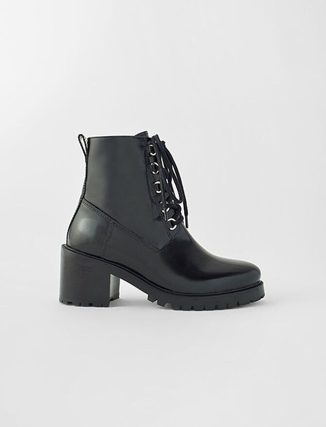 Botines de tacón de piel negra -  - MAJE
