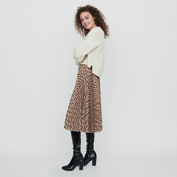 Falda de cuadros plisada elástica : Faldas y shorts color Marrón
