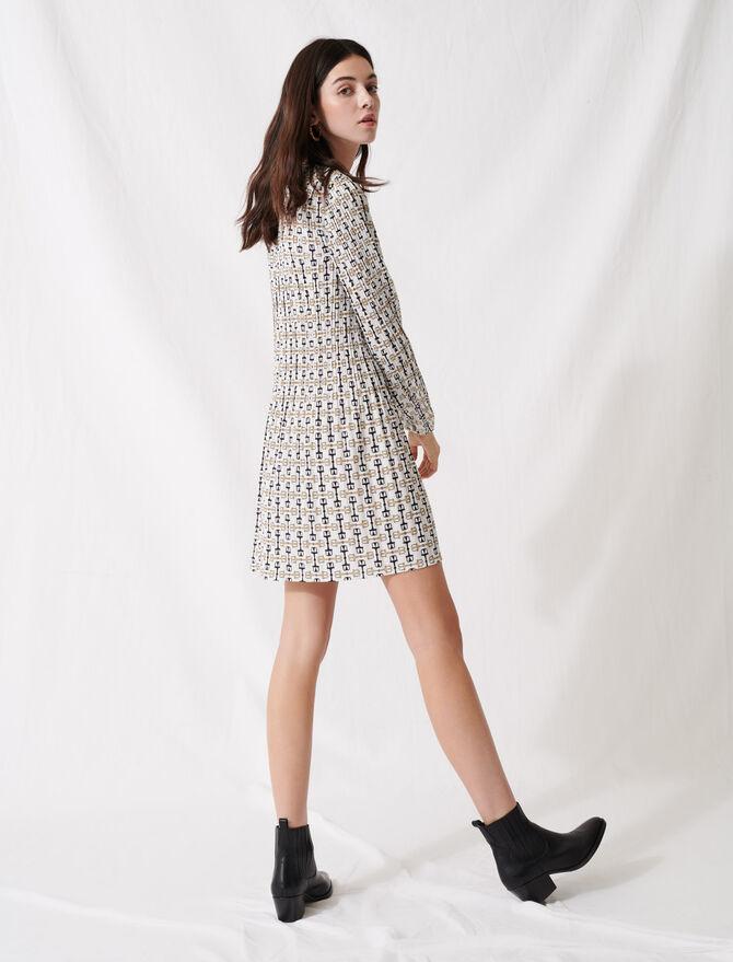 Vestido corto plisado de estilo pañuelo - Vestidos - MAJE