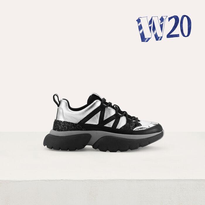 Sneakers W20 urbanas de cuero : Sneakers color Plateado