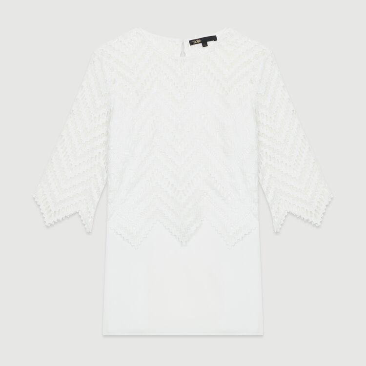 Top de crepé y encaje : Tops color Blanco