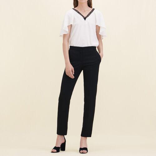 Pantalón recto de crepé : Pantalones y vaqueros color Negro
