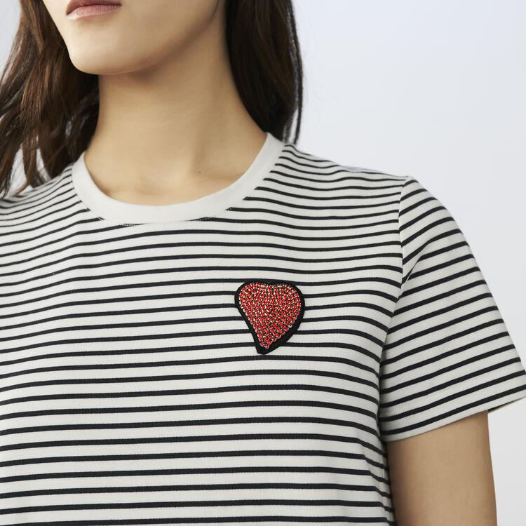 Camiseta a rayas con insignia : T-Shirts color Rayas