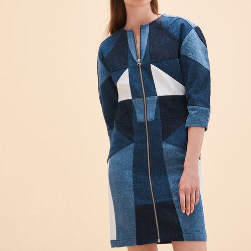 Vestido vaquero con patchwork : Vestidos color Azul