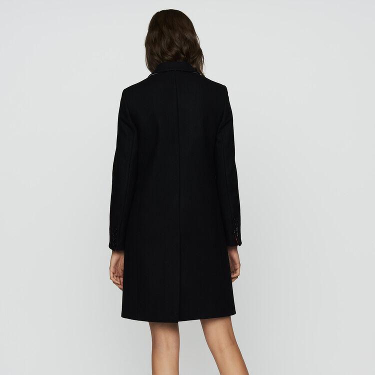 Abrigo recto de lana virgen : Abrigos color Negro