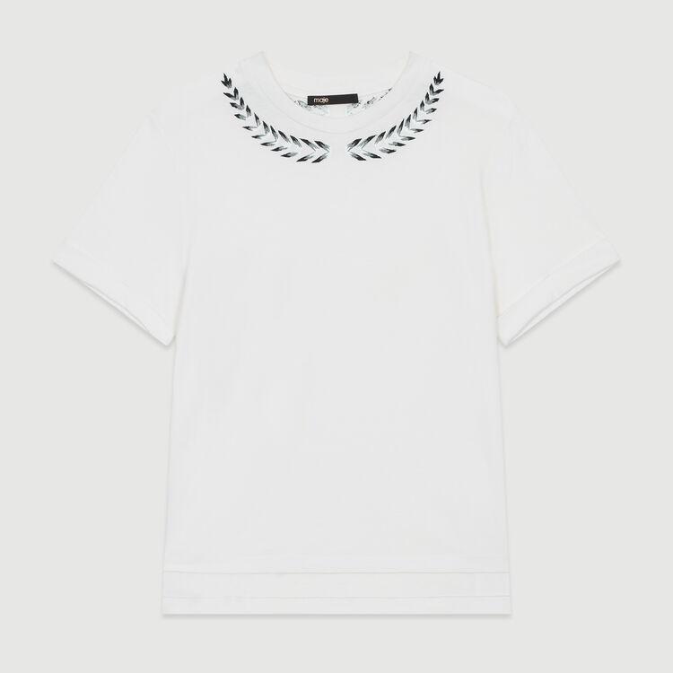 Camiseta con bordados : T-Shirts color ECRU