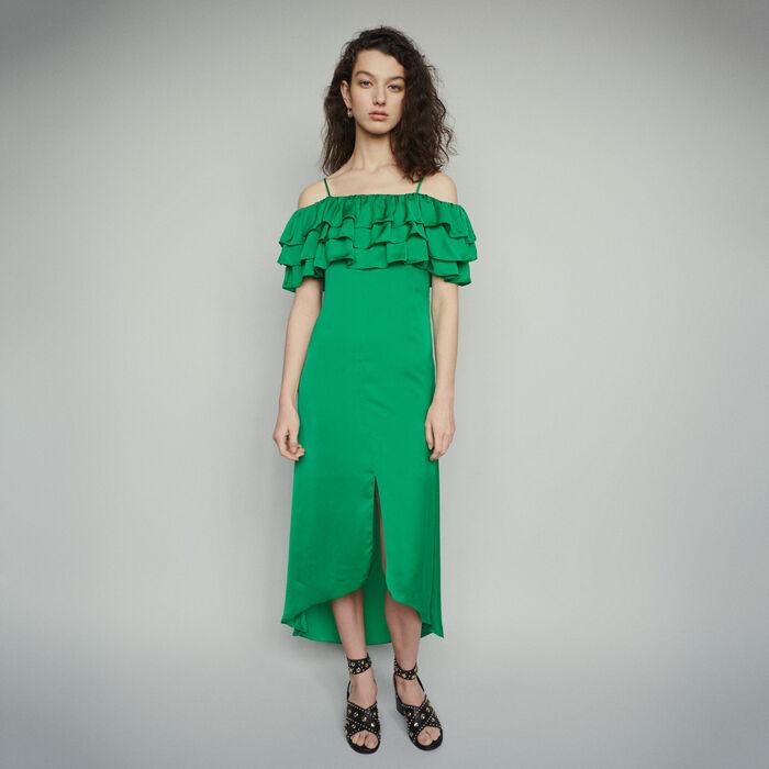 Vestido midi finos tirantes con volantes : Vestidos color Verde