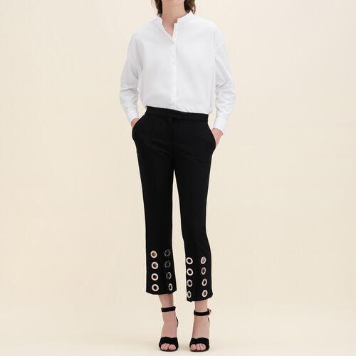 Pantalón recto con ojales de crepé : Pantalones color Negro