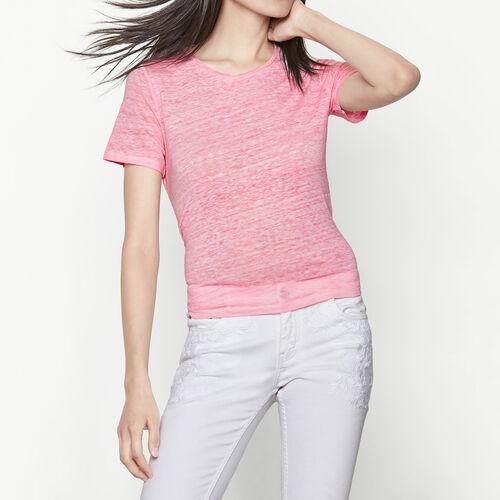 camiseta de lino anudada en la cintura : Camisetas color Rosa