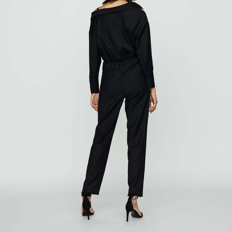 Mono-pantalón con hombros descubiertos : Monos color Negro