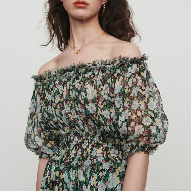 Vestido largo fruncidao estampado floral : Vestidos color IMPRIME
