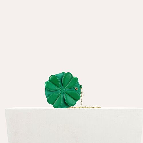 Bolso alfador redondo  con trébol : Colección de verano color Verde